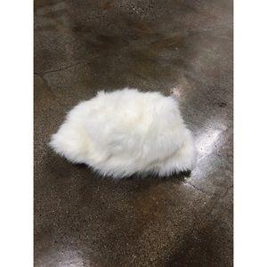 White snow bunny faux fur winter Russian hat